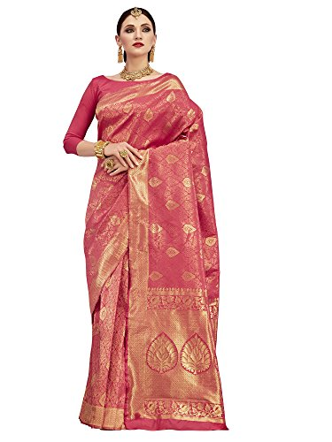 paroma art women\'s Silk saree with blouse piece (Pink_KUMD35012)