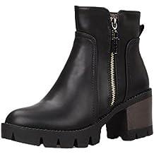 AgeeMi Shoes Donna Scarpe a Chiusa Tacco a Blocco Zip Inverno Corti Stivali