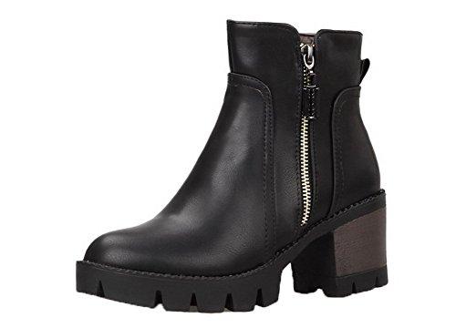 Zip Shoes Correct AgeeMi Unie Cuir Bottes Rond Femme Noir Couleur Talon à PU fBfwId
