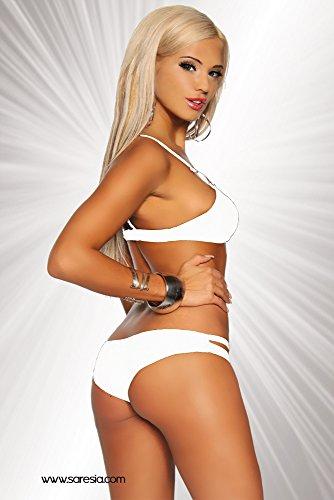 Saresia Gogo Bikini mit dekorativen Metallelementen | in fünf verschiedenen Farben verfügbar |hochwertige Qualität Weiß