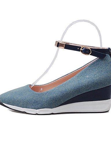 WSS 2016 Chaussures Femme-Extérieure / Habillé / Décontracté-Bleu / Marine-Talon Compensé-Compensées / Talons / Nouveauté / Bout Pointu / Bout dark blue-us8 / eu39 / uk6 / cn39