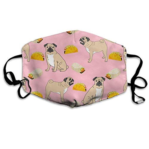 Daawqee Staubschutzmasken, Pugs Dog Tacos Food Face Masks Breathable Dust Filter Masks Mouth Cover Masks with Elastic Ear Loop