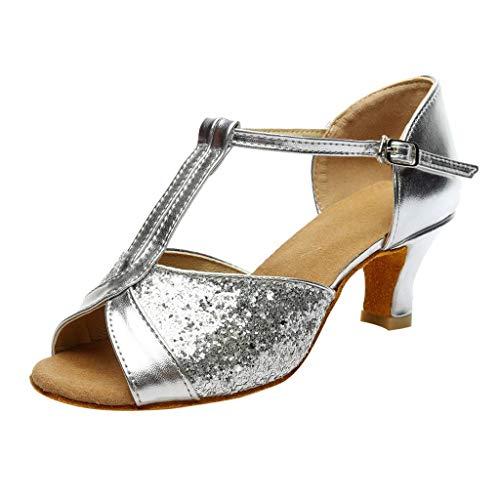 HILOTU Stilvolle High Heel Sandalen Für Frauen Persönlichkeit Bright Color Stitching Vamp Anti-Rutsch-Sandalen Sommer Casual Open Toe Gemütliche Ledersandalen (Color : Silber, Size : 41 EU) Open Toe Holz