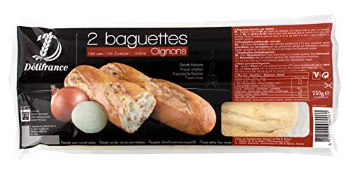 Délifrance - 2 Baguettes Oignons Zwiebelbaguettes vorgebacken Aufbackbrot aus Frankreich - 2x125g Baguette-brot