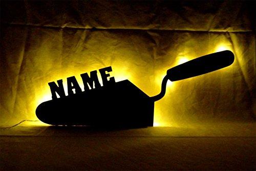 """Schlummerlicht24 3d Led Nachtlicht """"Spachtel Maurer-Kelle"""" mit Namen, witzige lustige Mann Männer Geschenke für Handwerker, als personalisierte Deko-Lampe im Schlafzimmer Wohnzimmer Arbeitszimmer"""