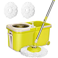 ARSUK Mop Bucket Set Magic 360° Spin with 2 Replacement Heads, Stackable Collapsible and Easy to Store (Split Mop Bucket Set)