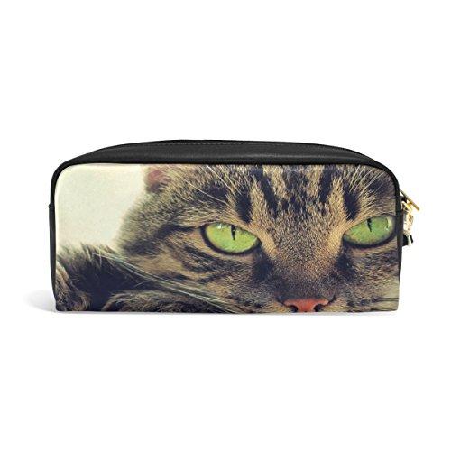 zzkko S Green Eyed Cat Leder Reißverschluss Federmäppchen Stift Stationäre Tasche Kosmetik Make-up Tasche (Eyed Green Katze)