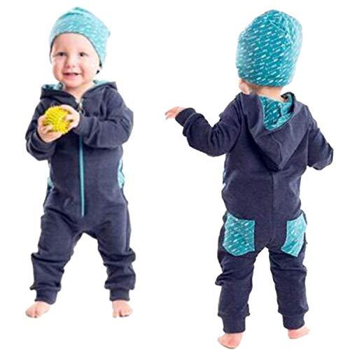 HET Neugeborene Jungen Mädchen Kleinkind Baby Boy Einfarbig schöne reine Spleiß mit Kapuze Strampler Overall Playsuit Outfits Kleidung Sweatshirt Herbst Kleider Babykleidung (90, Marineblau)