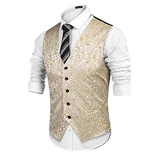 L'Amore Coofandy Mens Paisley Waistcoat Floral Satin Jacquard Classic Retro Suit Vest