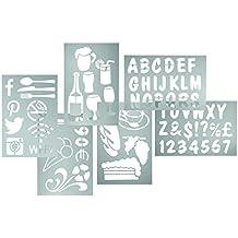 Securit - Juego de plantillas (5 unidades, 230 x 330 mm), diseño de números, símbolos y letras del alfabeto