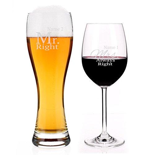 Leonardo Weizenglas und Weinglas Mr. & Mrs. Always Right mit Ihrem Namen zur Hochzeit