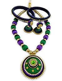 Green And Violet Jewellery Set With Necklace Earrings And Bangles