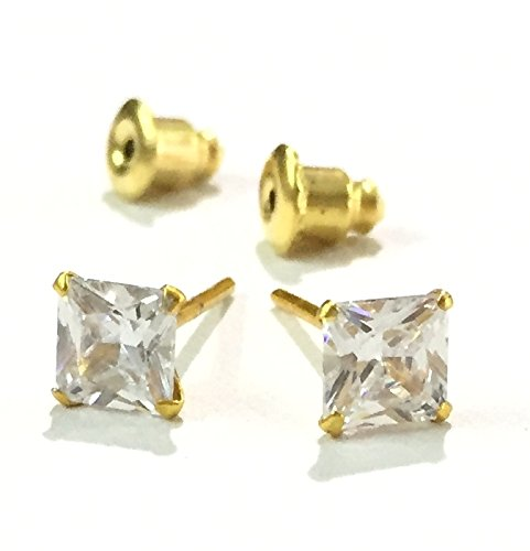 AKSHAJ American Diamond Single Stone Studded Square Tops Studs Earrings For Girls n Boys