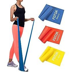 Potok Premium Gymnastikband Set – 3 Fitnessbänder – Extra Lange (1.8m) Übungsbänder für Yoga, Pilates, Reha-Sport, Physiotherapie und mehr – Widerstandsbänder-   Leicht   Medium   Stark