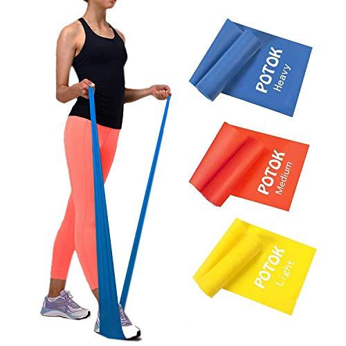 Potok Premium Gymnastikband Set - 3 Fitnessbänder - Extra Lange (1.8m) Übungsbänder für Yoga, Pilates, Reha-Sport, Physiotherapie und mehr - Widerstandsbänder- | Leicht | Medium | Stark