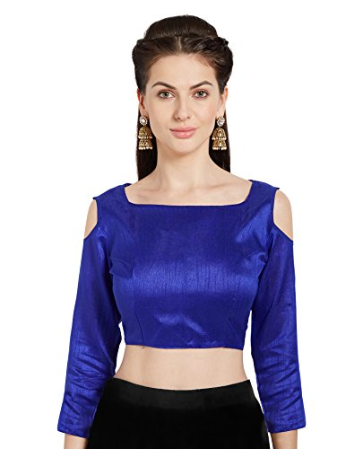 Frauen blau Art Seide Readymade Partywear Saree Bluse Choli kalte Schulter Mirchi Fashion Top (Aus Schulter-bluse Seide)