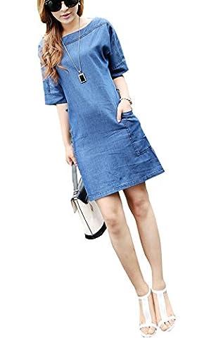 OMUUTR Damen Sommer Jeanskleid Hemdkleid Rundhals Halbe Ärmel Lose Minikleid Denim Jeans Kleider Abend Kleider PartyKleid Sommerkleid mit Gürtel (Jeans Kleid)