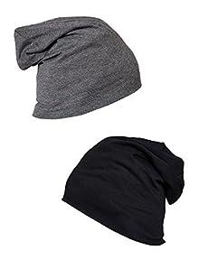 Vimal Black And Dark Grey Beanie Cap For Women(Pack Of 2) 2aa42608c839
