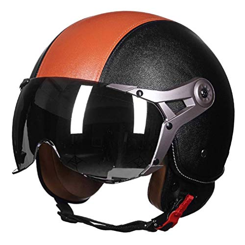 GWM Motor Bike Helm Air Force Retro Lederhelm Halb Motorcross Helm mit Visier Weiß Rot (Farbe : Orange, größe : XL) (Helm Air Force)