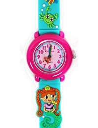 Reloj niña chica infantil, analógico de cuarzo SIRENA DEL MAR con correa de goma en caja de regalo, Resistente al agua, Mecanismo Seiko, Batería Sony, azul y rosa, Kiddus RE0265