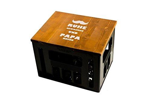 Geschenkidee Geburtstagsgeschenk Bierkastensitz Bierkistensitz Sitzauflage Bierkiste Bierkasten Sitz Hocker Holz Handmade Hipster mit Motiv Papa