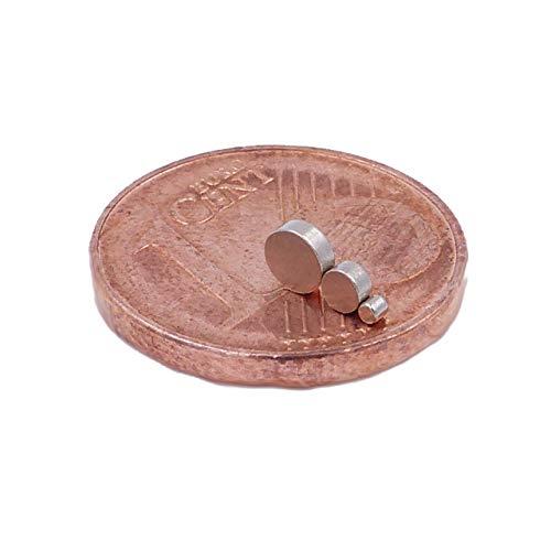 Brudazon | 15 Mini Scheiben-Magnete Set 1x1mm + 2x1mm + 3x1mm | N52 stärkste Stufe - Neodym-Magnete ultrastark | Power-Magnet für Modellbau, Basteln | Magnetscheibe extra stark -