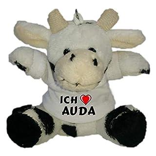 SHOPZEUS Plüsch Kuh Schlüsselhalter mit T-Shirt mit Aufschrift Ich Liebe Auda (Vorname/Zuname/Spitzname)