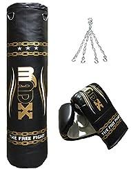 MADX - Set de boxeo (3 piezas, saco de 1,20 m con relleno, guantes, cadena), color negro y dorado