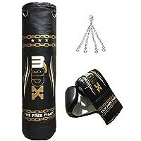 Madx - Set per la boxe composto da 3 pezzi con sacco da boxe pieno, guanti, catena, sacca, colore: Nero/Oro, lunghezza: 152