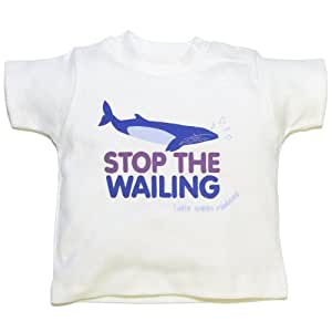 Little Green Radicals organic Fairtrade cotton,Stop the wailing T-shirt  (Kitten White, 6-12 Months)