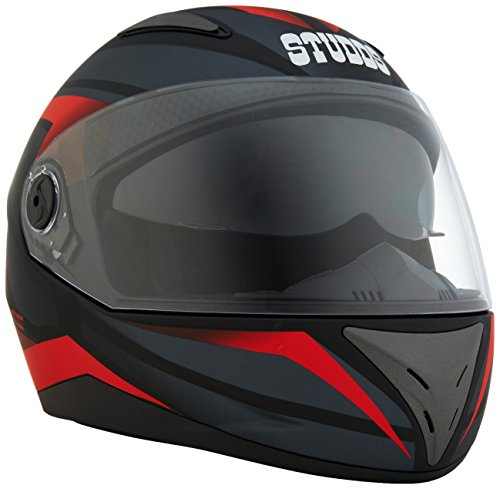 Studds Shifter Décor D2 Full Face Helmet (Matt Black and Red, XL)