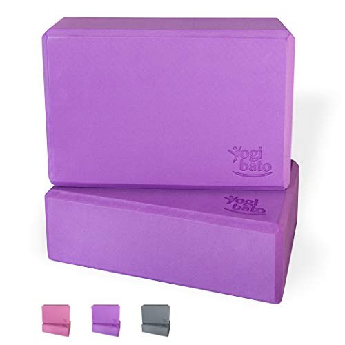 Yogibato Yoga-Block 2er Set Eva-Schaum | 22,8 x 15 x 7,5 cm | Meditation, Pilates Yoga-Klotz Doppel-Pack stabil & Rutschfest | Violett