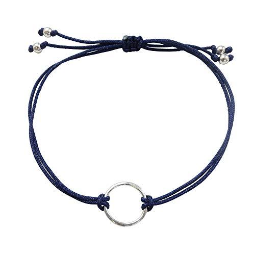 Smilla Brav® Karma Lebenskreis .925 Sterling Silber Lebens-Kreis Damen Ring-Armband Good Karma – dunkelblau – BS01