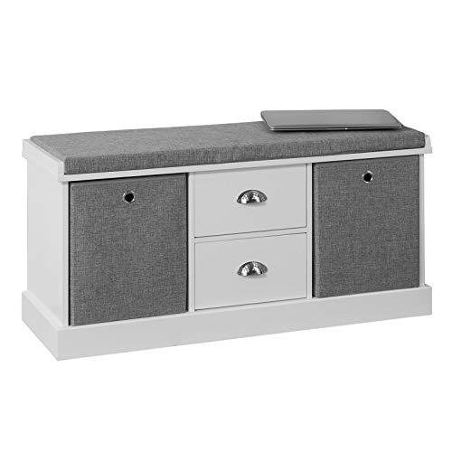 SoBuy FSR66-HG Sitzkommode Sitzbank mit Stauraum Schuhbank mit Sitzfläche mit 2 grauen Körben und 2 Schubladen Weiß BHT ca.: 100x50x35cm
