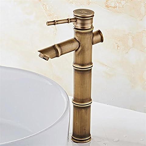 QW Salle de bain Robinet en bambou Finition antique Tapis à cuivre Mitigeur Tap Deck Robinets à eau chaude et froide montés , B