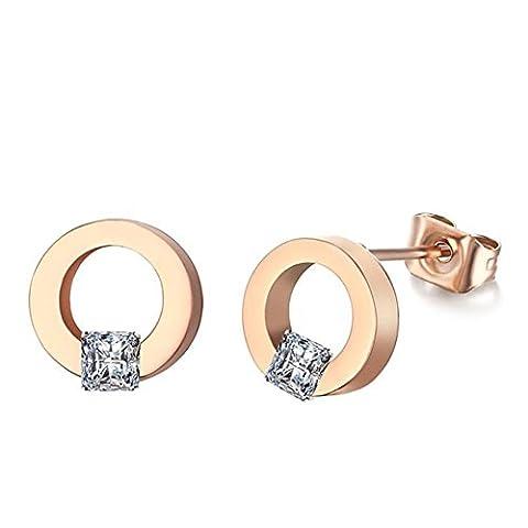 EARRING 1 Pair Womens Girls Round Earrings Fashion Cute Diamond Rose Gold Glittering Stud Earrings Gift , roses