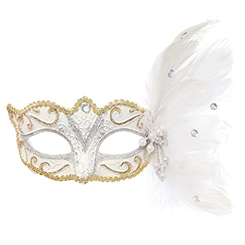 Clearbridal Masquerade Party Fancy Dress Disguise Masks & Eyemasks Outfit Accessory with Feather Sequins