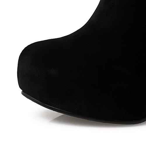 AllhqFashion Damen Nubukleder Hoher Absatz Schließen Zehe Reißverschluss Niedrig-Spitze Stiefel Schwarz-Wasserdicht Plattform