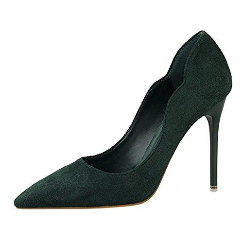 OALEEN Escarpins Femme Bout Pointu Elégant Effet Daim OL Soirée Mariage Chaussures Talon Haut Aiguille Vert