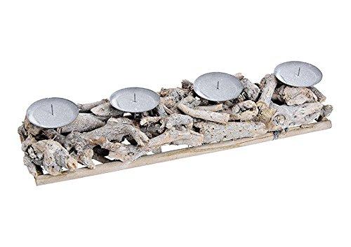 Adventsgesteck aus Holz Grau (B/H/T) 48x8x12cm Adventskranz Kerzenhalter
