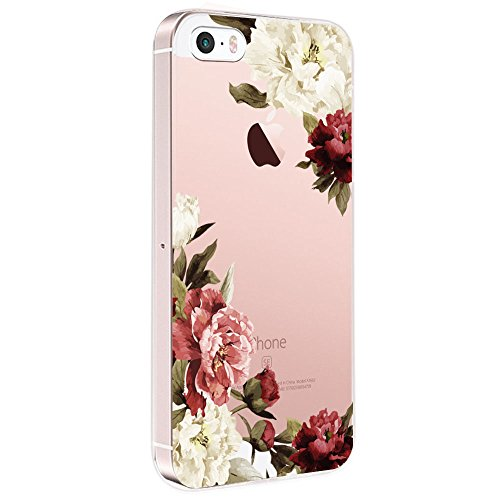 Pacyer iPhone SE Hülle Silikon Ultra dünn Transparent iPhone 5S iPhone 5 Handyhülle Rückschale TPU Schutzhülle für Apple iPhone SE/5S/5 Case Cover Mädchen Elefant Federn (Blumen 3)