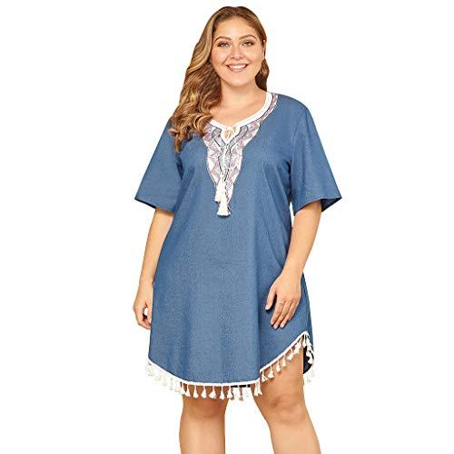 Frauen Sommer Casual T-Shirt Kleider Frauen Plus Size Casual Oansatz Bestickte Nähte Fransen Denim Kleid