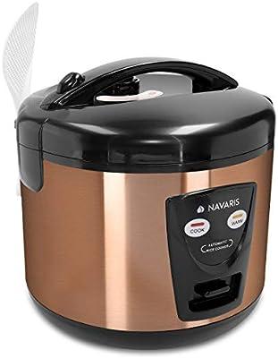 Navaris Arrocera de 1.2 litros con función para Mantener Calor - Hervidor arroz 6 Personas - con Cuchara Vaso medidor y Cesta para Vapor - Color Cobre