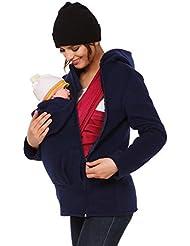 Happy Mama. Femme sweat à capuche duo porte-bébé maternité laine polaire. 031p