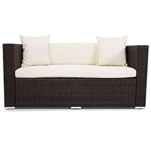 gartensofa braun meliert zweisitzer garten sofa polyrattan 2 er outdoor rattan k che. Black Bedroom Furniture Sets. Home Design Ideas