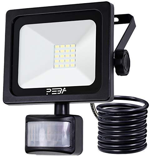 Security Light with Motion Sensor Outdoor PIR IP66 Waterproof LED Flood Light 10W PEBA for Courtyard, Garage, Garden and Doorways
