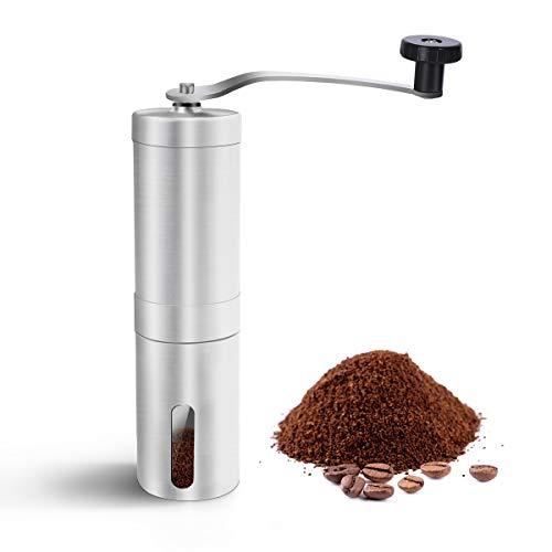 AIEVE Manuelle Kaffeemühle, Edelstahl Hand-Kaffeemühle Kaffeemühl Espresso-Kaffeemühle mit Keramikmahlwerk und Reinigungsbürste für Reisen Camping Hand, Keramik