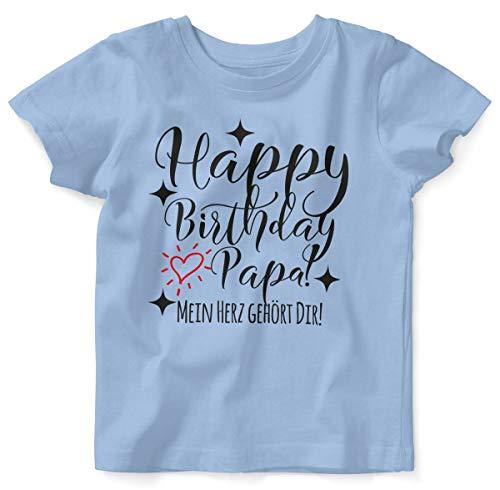 Mikalino Baby/Kinder T-Shirt mit Spruch für Jungen Mädchen Unisex Kurzarm Happy Birthday Papa! Mein Herz gehört Dir! | handbedruckt in Deutschland | Handmade with Love, Farbe:Sky, Grösse:92/98