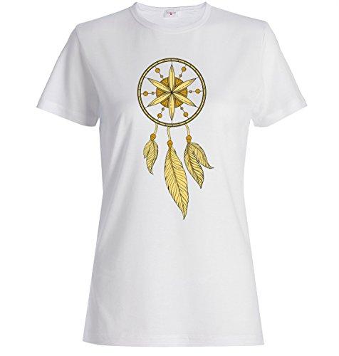 Dream catcher etchnic logo dope t-shirt femme coton Blanc
