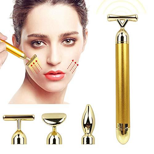 4-in-1 Beauty Bar, Kalolary 24K Gesichtsmassager Golden Pulse Gesichts Massagegeräte, Gold Skin Care Face Massager Anti-Falten, Hautstraffung, Anti-Aging-Pflege- und Tools - Beauty Massager